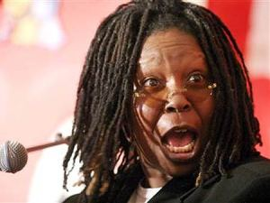 Whoopi is literally raising her eyebrows that do not exist. Baller.
